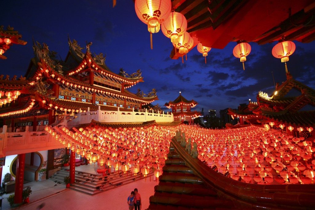 Thean Hou Temple in Kuala Lumpur, beautifully decorated with 10,000 lanterns.