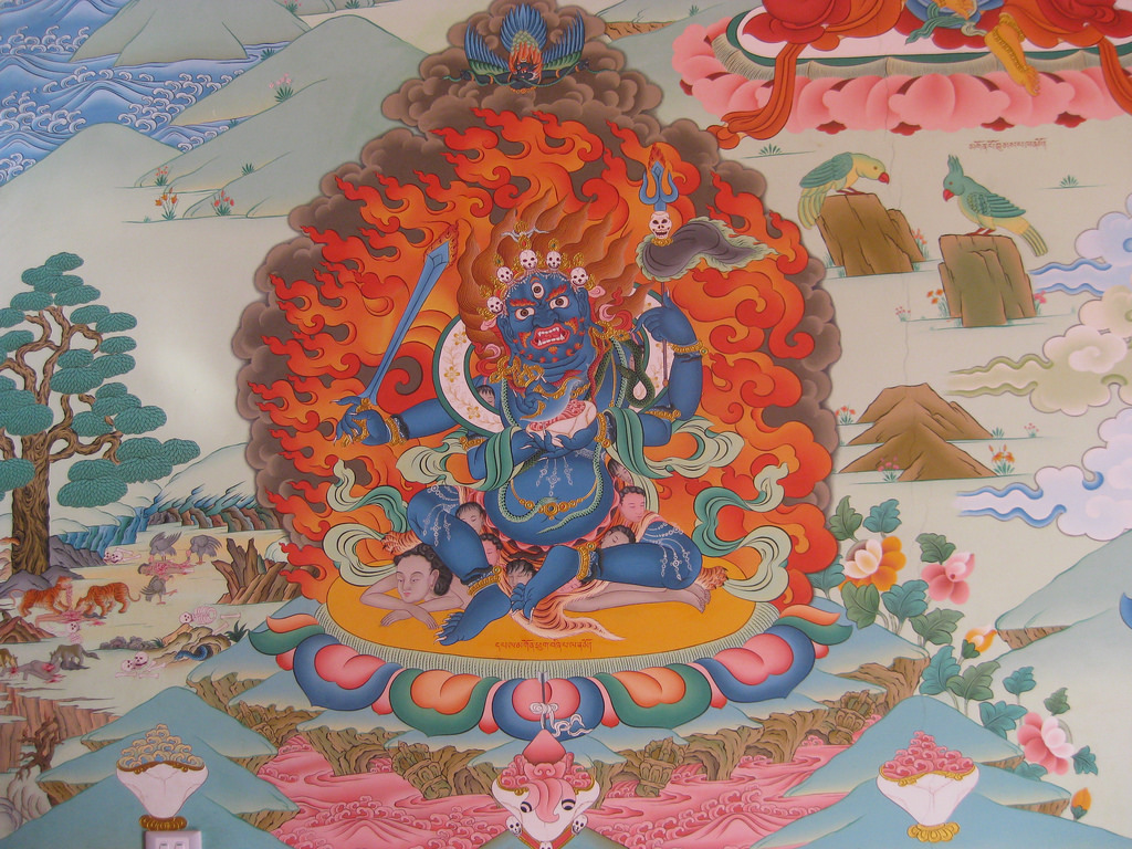 Four-armed Mahakala, whose four arms represent the four enlightened actions of an enlightened being: pacification, increase, control, and wrath. Click to enlarge.