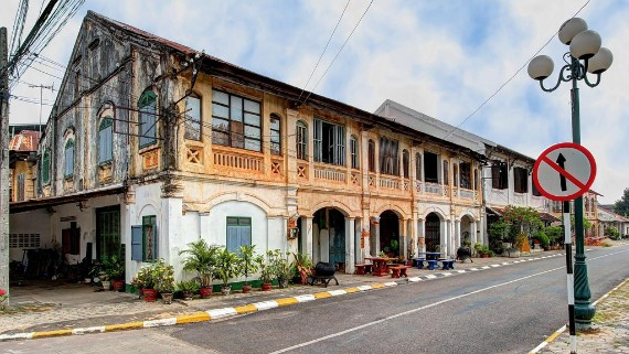 French Colonial type of shop houses and church in Savannakhet