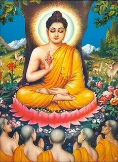 Buddha giving sermon to his five former companions at Deer Park, Sarnath