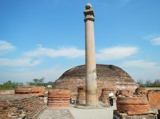 "The Ashoka Pillar erected by King Ashoka. It was originally surmounted by the ""Lion Capital of Asoka"" which is now in the Sarnath Museum"