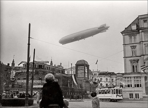 A zeppelin airship over Bremen. Professor Guenther survived World War II, the horrors of which left an indelible mark on him. He came to despise the military and atrocities based on mistaken ideologies.