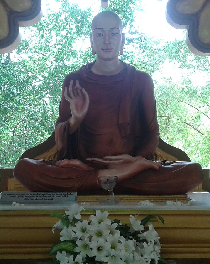 The statue of Mahinda Maha Thero, the son of the Mauryan Emperor Ashoka and a great monk who was credited with bringing Buddhism to Sri Lanka.