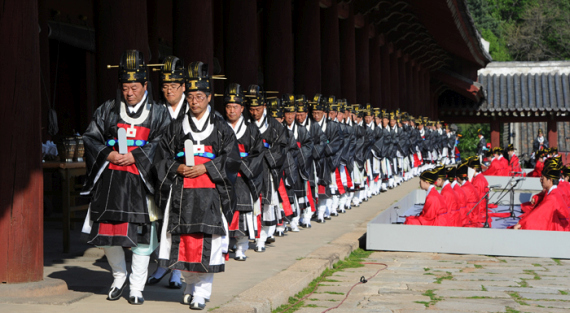 A re-enactment of a royal ancestral memorial rite called Jongmyo Daeje held annually in May