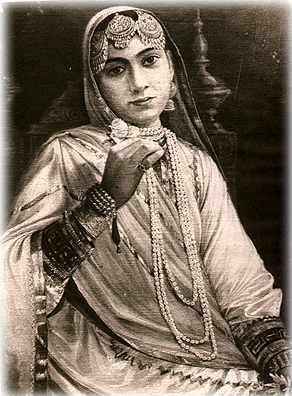 The Maharani Jind Kaur, who was the Maharaja's final wife and Princess Sophia's grandmother. Upon the death of her husband, the Maharani broke with tradition and refused to join him on the funeral pyre, insisting that she wanted to live and see her son Duleep Singh ascend to the throne. In a cruel twist of fate, she would later be separated from her 9-year old son by the British who would then manipulate him into giving up the throne. The Maharani would not see her son again for another 13.5 years. The Maharani was renowned for her beauty, energy and determination, and until her death the British always remained fearful that she would endanger their presence in India by plotting to revive the Sikh dynasty.