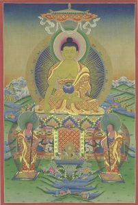 Buddha Shakyamuni with his chief disciples, Shariputra and Maudgalyayana