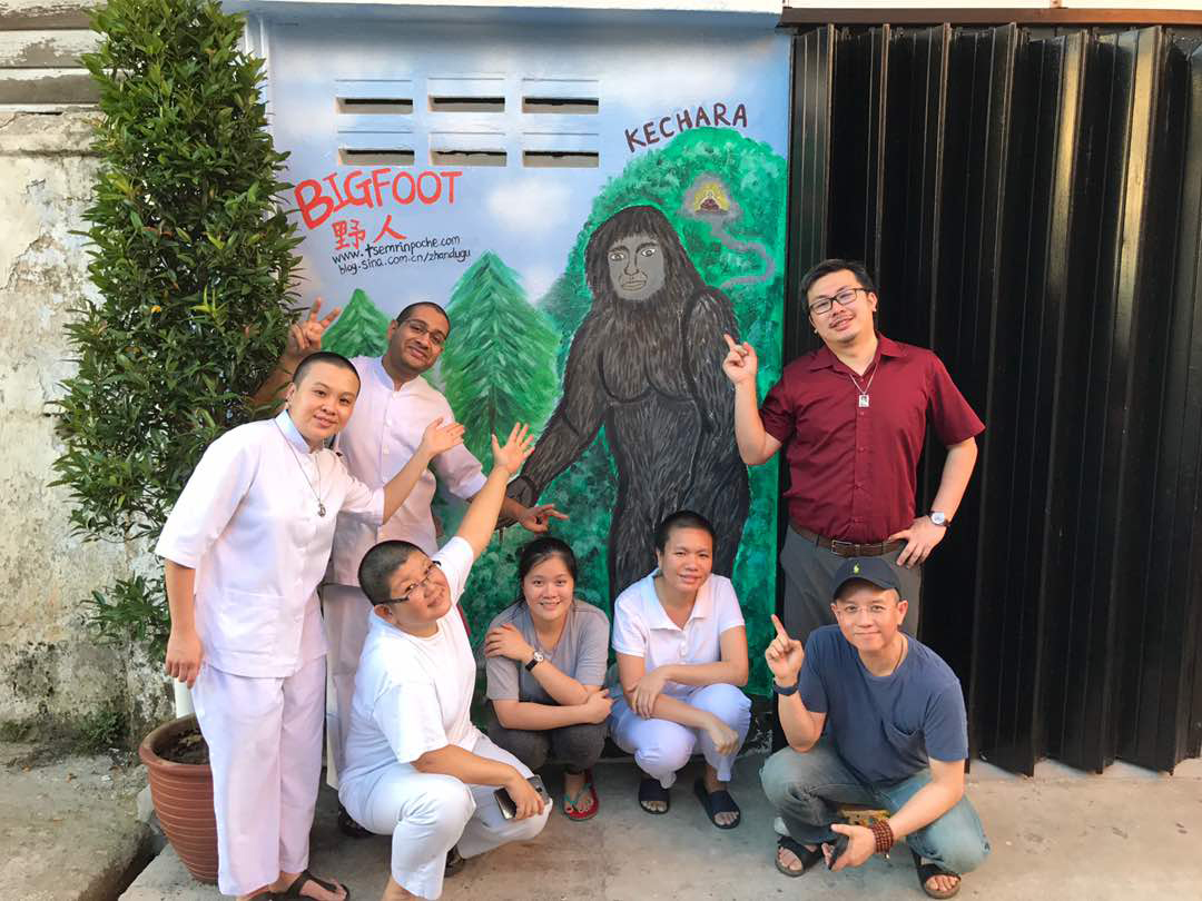 Some of our Kechara writers team posing with bigfoot