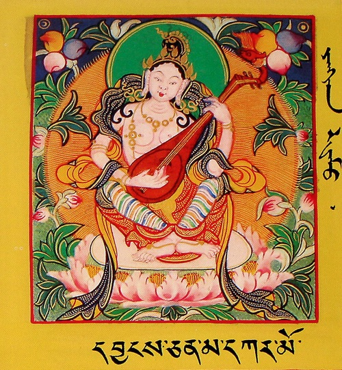 Tsarchen relied on Saraswati or Yangchenma during his retreat and attained great eloquence.