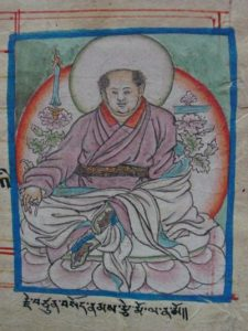 Another depiction of the Sakya master Sonam Tsemo. He is one of the lineage holders of Vajrayogini's practice.
