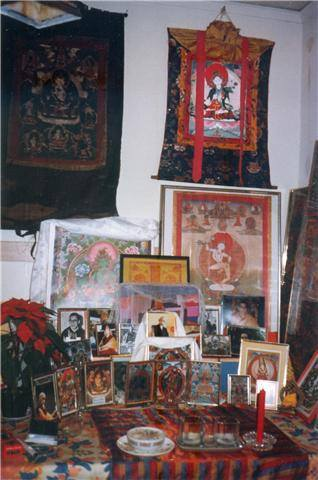 My shrine in my room at Thubten Dhargye Ling Buddhist centre