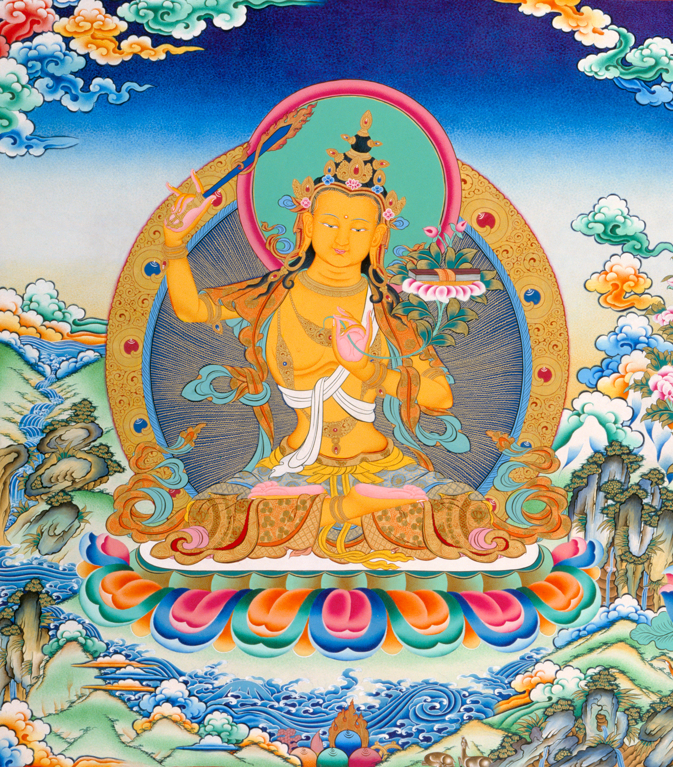 Lord Manjushri, the Buddha of wisdom. Click to enlarge.