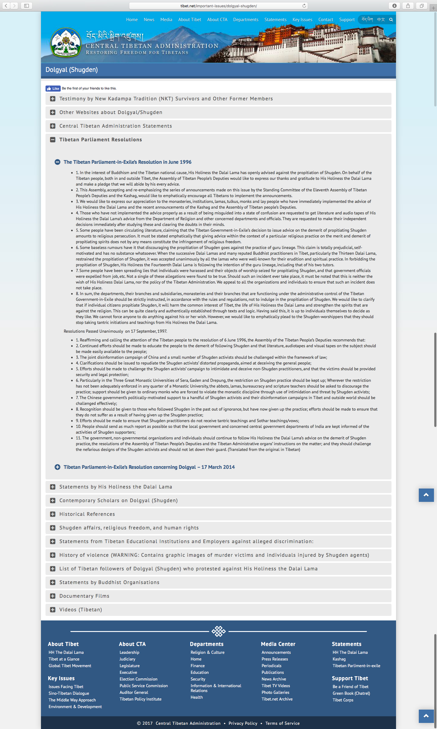 A screenshot of tibet.net, showing the 1996 resolution which proclaimed that departments under the Tibetan leadership should not propitiate Dorje Shugden and that doing so will harm the Dalai Lama's life.