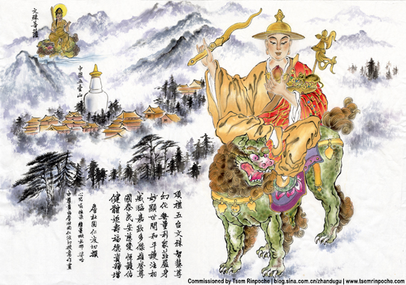 A beautiful painting of Dorje Shugden depicted in traditional Chinese art style. Click on image to enlarge.