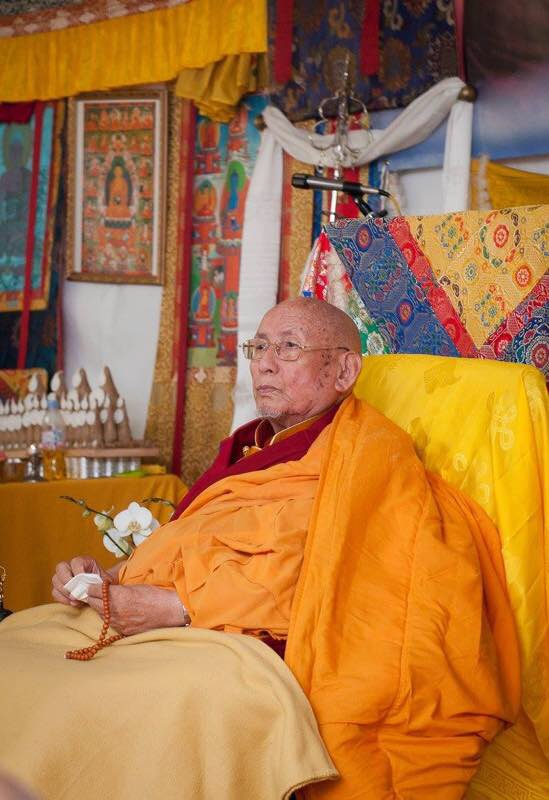 His Holiness the 101st Gaden Trisur Jetsun Lungrik Namgyal, radiant and glowing on his 90th birthday