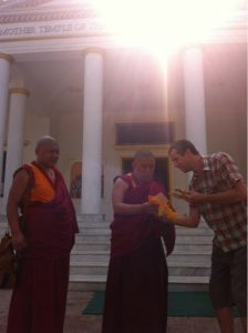 At the Mother Temple of the Graduated Path to Enlightenment in Lumbini, Nepal