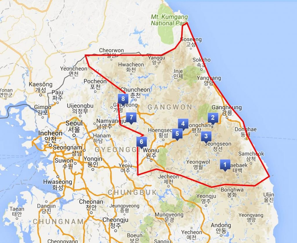 Map of Gangwon. Click on image to enlarge.