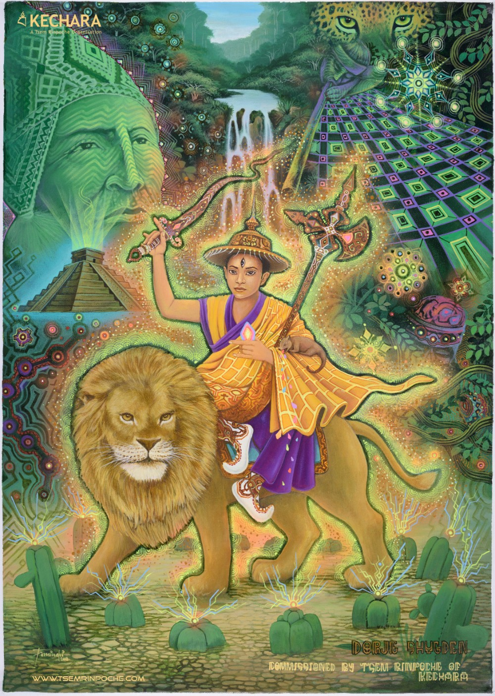 A unique Mayan painting of Dorje Shugden commissioned by Tsem Rinpoche. Click on image to enlarge.