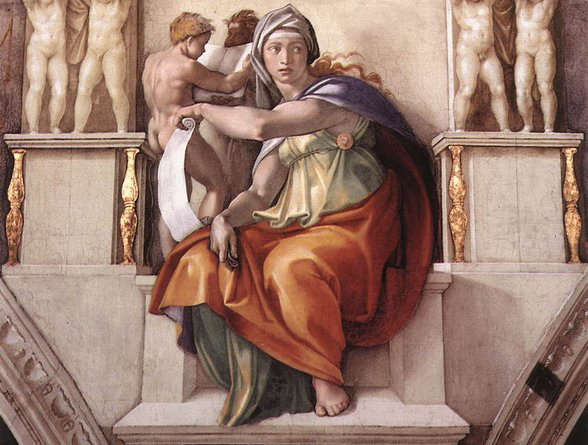 The Delphic Sibyl, one of five Sibyls depicted by Michelangelo in the Sistine Chapel, Vatican City.