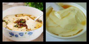 左为中国豆腐花。右为马来西亚甜味豆腐脑