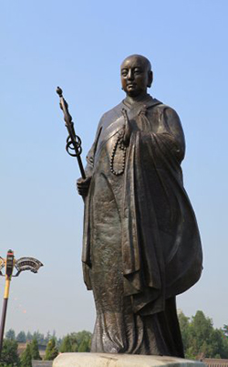 A statue of Xuanzang (602 – 664 CE), who is widely celebrated all across China for his works, deeds and activities to establish and propagate the Dharma