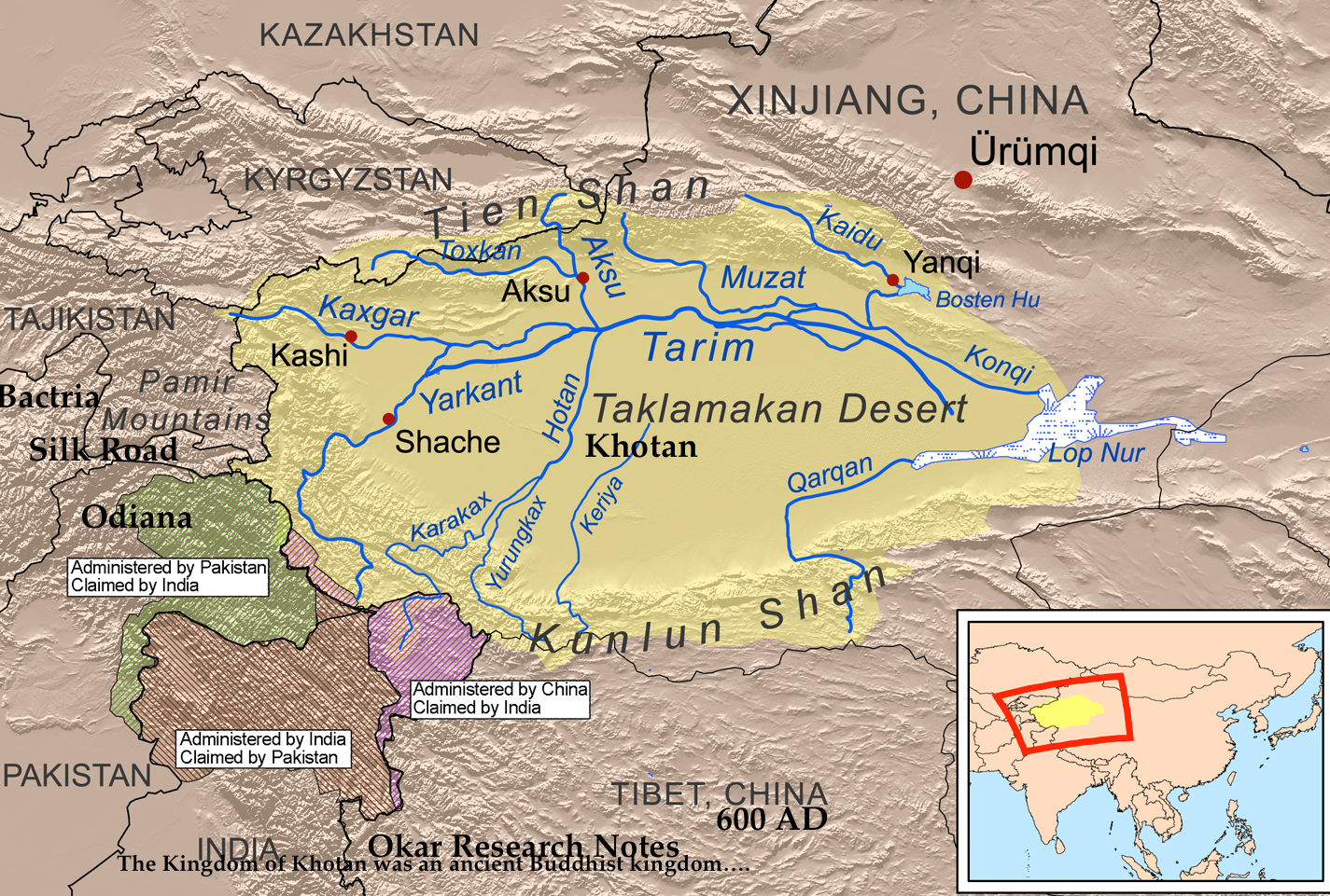 A map of the ancient Buddhist Kingdom of Khotan