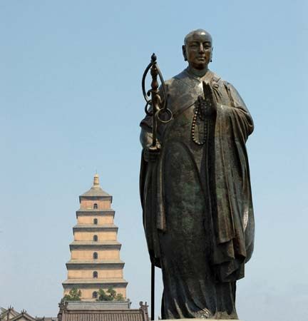 The statue of Xuanzang in front of Wild Goose Pagoda