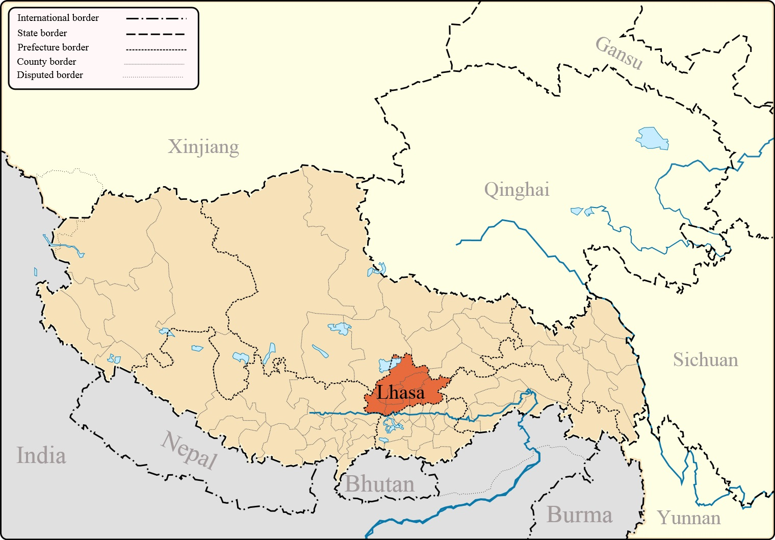 Map of Tibet in China. Click on image to enlarge.