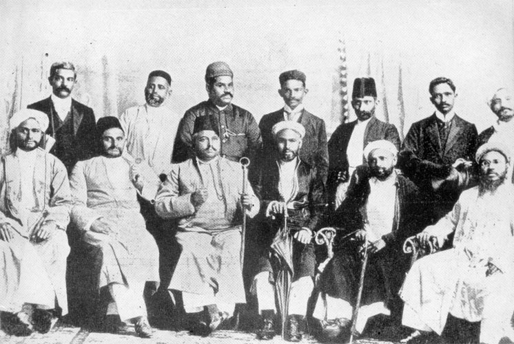 Gandhi with the founders of the Natal Indian Congress, 1895