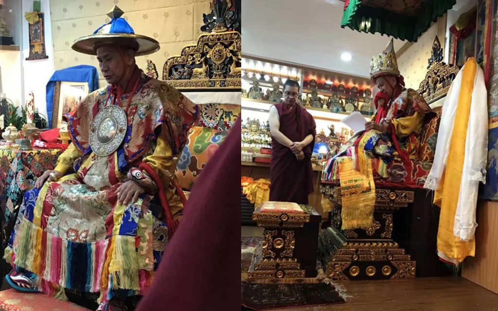Protector Dorje Shugden (left) and minister, Kache Marpo (right) in trance via the 7th Panglung Oracle on the first day of Lunar New Year, 2018. 多杰雄登护法及其大臣, 喀切玛波在农历新年的第一天降神于第七任庞龙神谕。