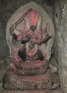 A stone image of Vajrayogini Ugra-Tara in one of the meditation caves