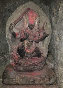 A stone image of Vajrayogini Ugra-Tara in one of the meditation caves
