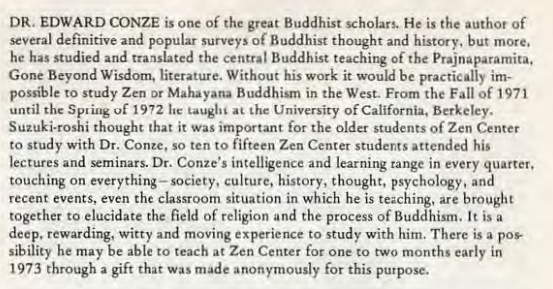 "An excerpt from ""Wind Bell"" that praised Dr. Conze's scholarship and the vastness of his knowledge and expertise. Click on image to enlarge."