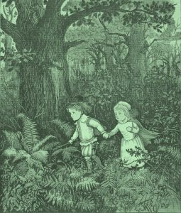 'The Babes in the Wood' by Randolph Caldecott, 1887. The green children of Woolpit are associated with the Babes in the Wood, poisoned with arsenic and left to die in the forest.