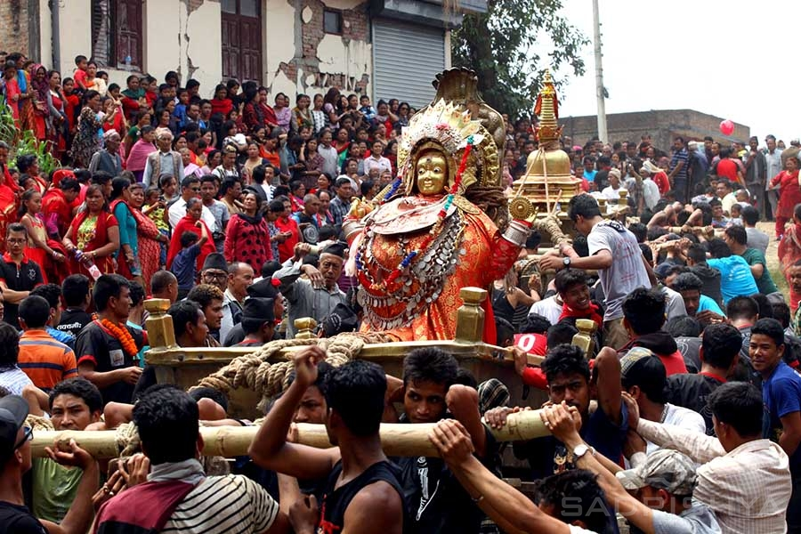 During the Bajrajogini Jatra, Vajrayogini Ugra-Tara and the self-arising stupa Swayambhu is brought out in a procession to bless the public.
