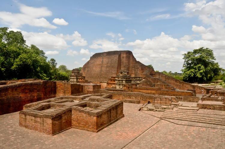 The ruin of one of the old monastery courtayrds of Nalanda Monastery.