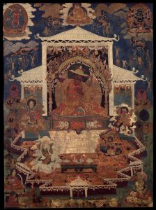 Dorje Shugden seated on a throne surrounded by a retinue of four emanations. Image credit: himalayanart.org. Click on image to enlarge