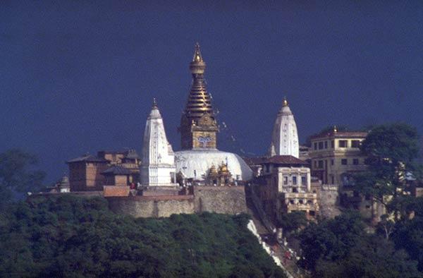 Sacred hill and stupa of Swayambhunath, Kathmandu, Nepal