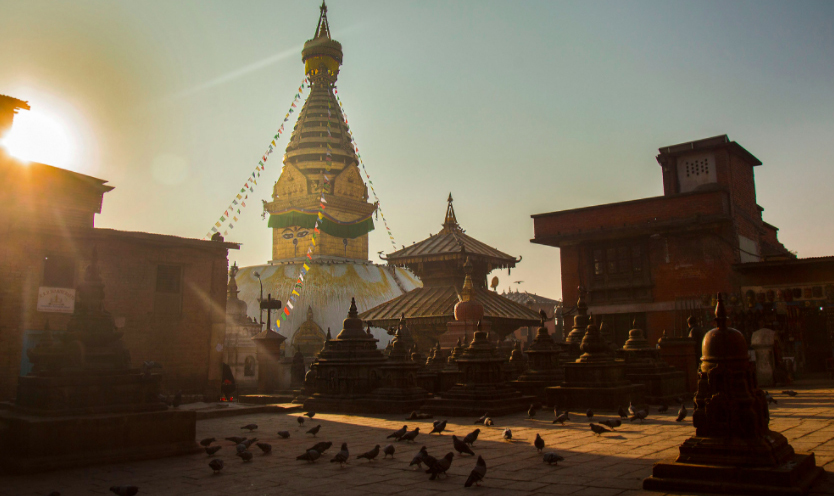 Santikar Acarya then covered the original Swayambhunath Stupa with precious stones and had it covered with an outer stupa