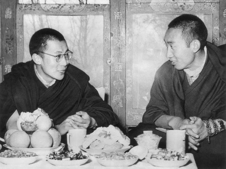 His Holiness the 14th Dalai Lama and the previous 10th Panchen Lama.
