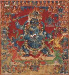The earliest known Tibetan painting of Four Faced Mahakala (Chaturmukha Mahakala) from the 15th Century. Also featured in this painting are the lineage masters including Nagarjuna, Buddhajnana, Nyen Lotsawa, Sachen Kunga Nyingpo and Sakya Pandita. Click to enlarge.