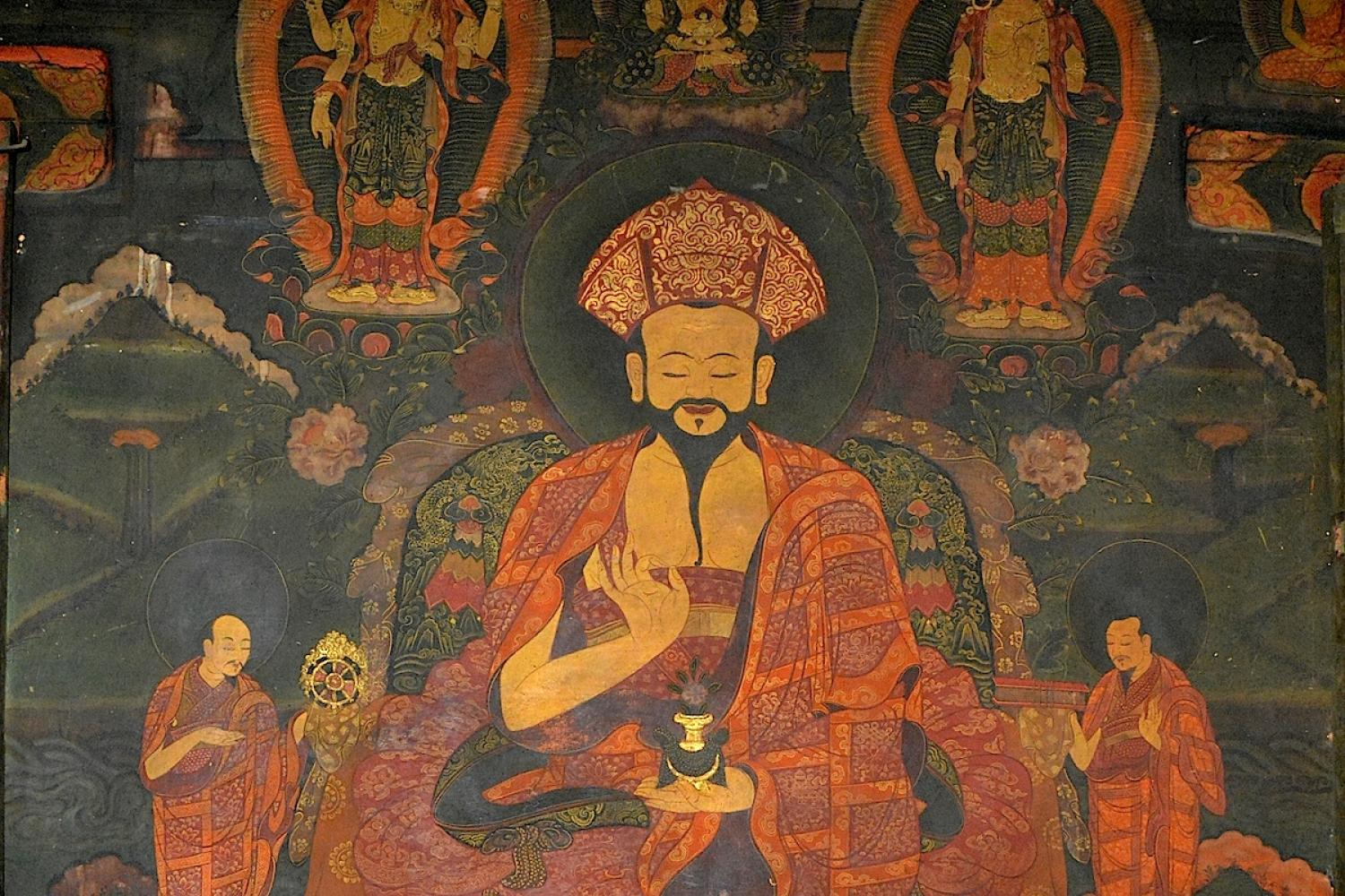 An 18th century mural of Zhabdrung Ngawang Namgyal (1594-1651), considered the founding father of Bhutan. Surrounding him are his two attendants, while above are the two manifestations of the bodhisattva of compassion, Avalokiteshvara, and the Buddha of long life, Amitayus. Below are two forms of Tara and a Drukpa Kagyu Lama. Click on image to enlarge.