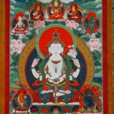 The bodhisattva Avalokiteshvara, 1800–1900. Tibet. Thangka; colours on cotton. Courtesy of the Asian Art Museum, Gift of the Friends of Richard Davis, 1988.34. Click on image to enlarge.