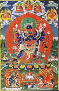 A thangka of 12-armed Heruka in union with his consort Vajrayogini. Four-Faced Mahakala is depicted in the lower left corner and on the lower right is Dorje Shugden.