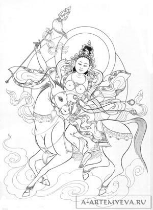 A line drawing of Dorje Gegkyi Tso.