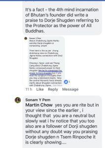 Zhabdrung Rinpoche FB negative comment