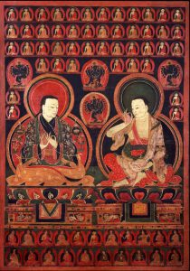 Marpa Chokyi Lodro, the Translator: the founder of the Kagyu School of Tibetan Buddhism. At the right is Milarepa Gyepa Dorje, the most famous student of Marpa and greatest poet yogi of Tibet.
