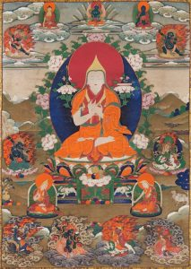 Lama Tsongkhapa with his two principal students, Gyaltsabje on the left and Khedrubje on the right. Image credit: himalayanart.org. Click on image to enlarge.
