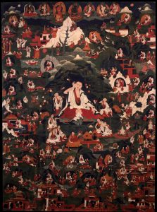 Milarepa: the great poet yogi of Tibet surrounded by life story vignettes. Image credit: himalayanart.org. Click on image to enlarge.