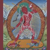 The current form of Naro Kacho Vajra Yogini appeared to the Indian Mahasiddha Naropa after he meditated intensely on her practice inside a cave. He beheld her glorious form in a vision. This unique form became known as Naropa's Vajra Yogini or Naro Kacho, as it had never existed before. Later, in Tibet, His Holiness Kyabje Pabongka Rinpoche also had visions of Vajra Yogini. His vision differed slightly from the vision of her that Naropa beheld. In the original Naro Kacho form, Vajra Yogini looks towards her pure land named Kechara. However in Kyabje Pabongka Rinpoche's vision, she looked straight at him, symbolic of the deity empowering him to bestow her practice to many people in order to benefit them. The practice of Vajra Yogini belongs to the Highest Yoga Tantra classification that leads to tremendous inner transformation and can even grant enlightenment within just one lifetime. Click on image to enlarge.