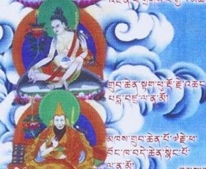 The 4th Takpu Pemavajra (top) and Kyabje Pabongkha Rinpoche (bottom) as depicted in the Dorje Shugden lineage tree.